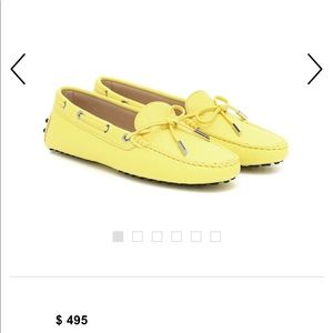 TOD'S GOMMINO LEATHER YELLOW LOAFERS SIZE 38